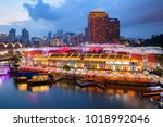 colorful light building at... | Shutterstock . vector #1018992046
