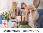 little cute girl  her... | Shutterstock . vector #1018992772