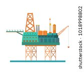 oil rig at the sea. oil... | Shutterstock .eps vector #1018998802
