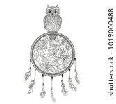 dreamcatcher with owl.... | Shutterstock .eps vector #1019000488