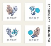 set of square cards. hand drawn ... | Shutterstock .eps vector #1019005726