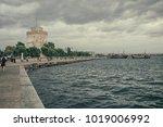 white tower in thessaloniki as... | Shutterstock . vector #1019006992
