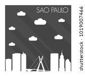 sao paulo brazil skyline city... | Shutterstock .eps vector #1019007466