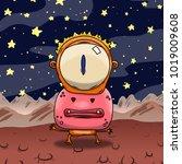 crazy strange space alien or... | Shutterstock . vector #1019009608
