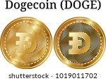 set of physical golden coin...   Shutterstock .eps vector #1019011702