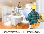 male contractor with hard hat... | Shutterstock . vector #1019016502