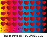 red heart vector set icon... | Shutterstock .eps vector #1019019862