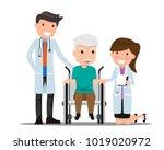 doctor and older man patient in ... | Shutterstock .eps vector #1019020972