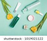 bottles with feminine body care ...   Shutterstock . vector #1019021122