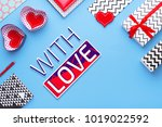 person holding a present for... | Shutterstock . vector #1019022592