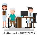 doctor and older man patient in ...   Shutterstock .eps vector #1019022715