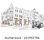 series of street cafes in the... | Shutterstock .eps vector #101902786