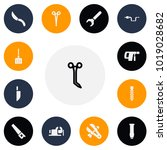 set of 13 editable tools icons. ...