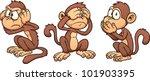 hear no evil  see no evil speak ...   Shutterstock .eps vector #101903395
