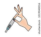 hand human with pregnancy test... | Shutterstock .eps vector #1019040016