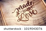 engraving on wooden box cover | Shutterstock . vector #1019043076