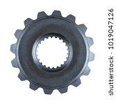 a heavy steel gear isolated on...   Shutterstock . vector #1019047126