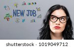 new job with young... | Shutterstock . vector #1019049712