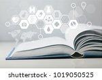 medicine illustration on open... | Shutterstock . vector #1019050525