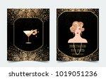 female hand holding cocktail... | Shutterstock .eps vector #1019051236