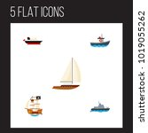 icon flat boat set of pirate ... | Shutterstock . vector #1019055262