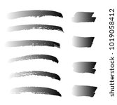 set of hand painted black brush ...   Shutterstock .eps vector #1019058412