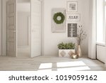 white empty room with open door ... | Shutterstock . vector #1019059162