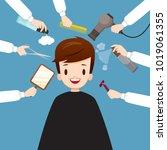 relaxing man in barber shop ... | Shutterstock .eps vector #1019061355