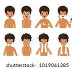 tanned skin man shaving beard... | Shutterstock .eps vector #1019061385