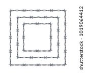 realistic 3d detailed barbed...   Shutterstock .eps vector #1019064412