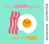 cute bacon and fried egg... | Shutterstock .eps vector #1019067028
