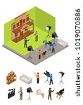 interior television studio and... | Shutterstock .eps vector #1019070886