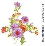 beautiful flower bunch | Shutterstock .eps vector #1019071345