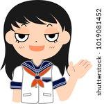 girl's japanese student sailor... | Shutterstock .eps vector #1019081452