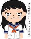 girl's japanese student sailor... | Shutterstock .eps vector #1019081455