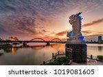 carp dragon statue and dragon...   Shutterstock . vector #1019081605