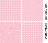 set of four vintage pattern.... | Shutterstock .eps vector #1019089186