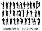 engineer silhouette vector for... | Shutterstock .eps vector #1019092705