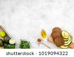 avocado toast for light healthy ... | Shutterstock . vector #1019094322