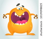 angry cool cartoon fat monster. ... | Shutterstock .eps vector #1019098825