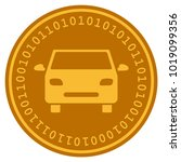 car golden digital coin icon.... | Shutterstock . vector #1019099356