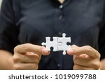 businesswoman hand connecting... | Shutterstock . vector #1019099788