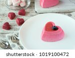 two heart cakes on a white... | Shutterstock . vector #1019100472