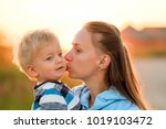 happy woman and child having... | Shutterstock . vector #1019103472