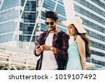 couple asian travelers are... | Shutterstock . vector #1019107492