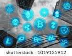 various crypto currency network ... | Shutterstock . vector #1019125912