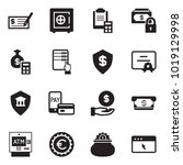 solid black vector icon set  ... | Shutterstock .eps vector #1019129998