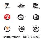 head dragon flat color logo...   Shutterstock .eps vector #1019131858