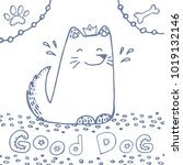 hand drawn doodle sitting cute... | Shutterstock .eps vector #1019132146