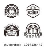 set of classic scooter emblems  ... | Shutterstock .eps vector #1019136442